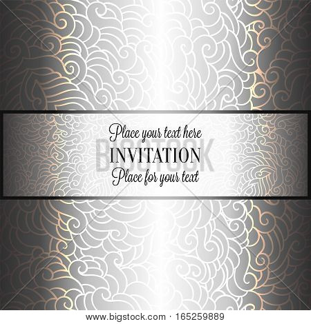 Romantic Background With Luxury Holographic Silver Vintage Frame, Victorian Banner, Made Of Feathers