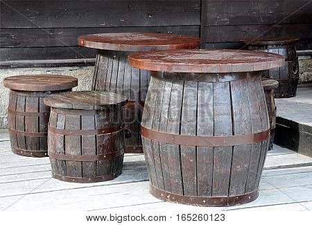 view of the old wooden barrels per session