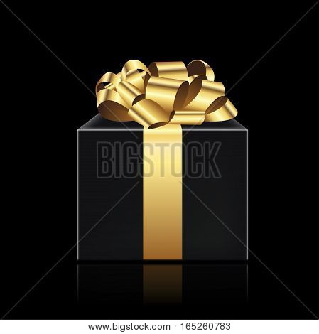Black present with the golden ribbon on dark background. Gift box for Christmas, New Year's Day, Birthday, Valentines Day and different celebrations