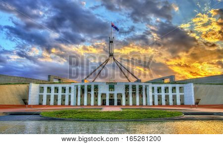 Parliament House in the evening. Canberra, Australia