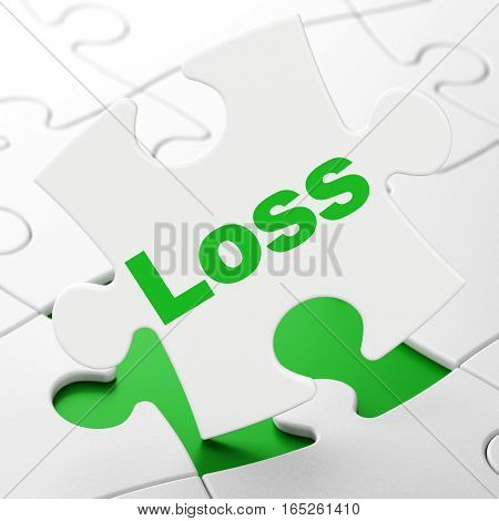Finance concept: Loss on White puzzle pieces background, 3D rendering
