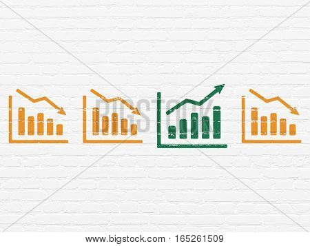 Business concept: row of Painted orange decline graph icons around green growth graph icon on White Brick wall background