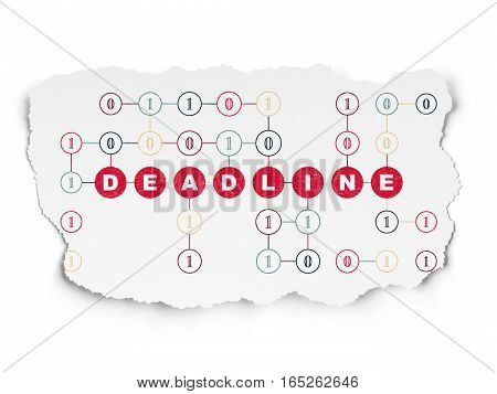 Finance concept: Painted red text Deadline on Torn Paper background with Scheme Of Binary Code