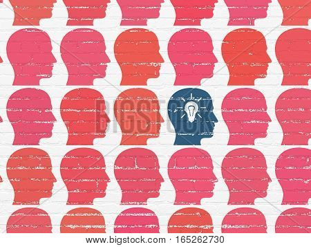 Finance concept: rows of Painted red head icons around blue head with light bulb icon on White Brick wall background