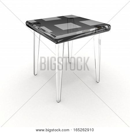Isolated glass stool with shadow over white