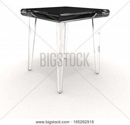 Isolated glass stool on white background with shadow