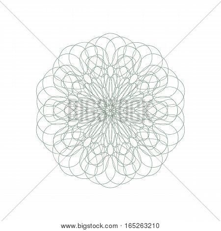 Guilloche decorative rosette element. Digital watermark. It can be used as a protective layer for certificate voucher banknote money design currency note check ticket reward etc