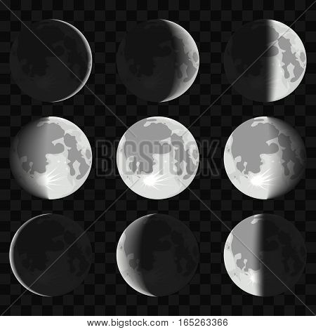 Night space astronomy and nature moon phases sphere shadow. The cycle from new moon to full moon on a transparent background. Vector Illustration.