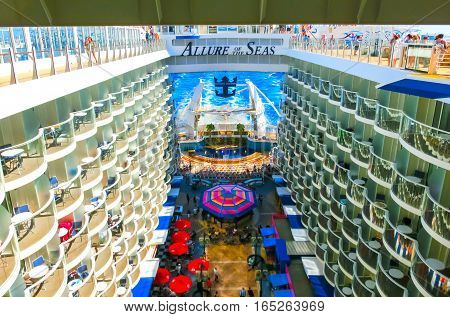 Barcelona, Spain - September, 6 2015: Royal Caribbean, Allure of the Seas sailing from Barcelona on September 6 2015. The second largest passenger ship constructed behind sister ship Oasis of the Seas.