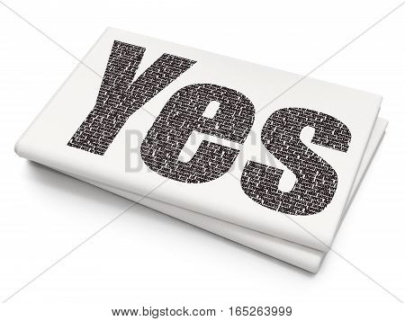 Business concept: Pixelated black text Yes on Blank Newspaper background, 3D rendering