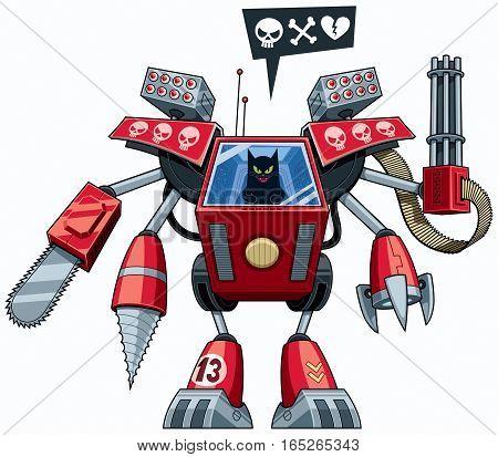 Black cat operating robot in full battle gear.