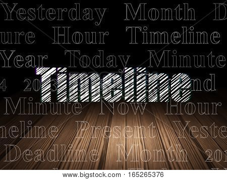 Time concept: Glowing text Timeline in grunge dark room with Wooden Floor, black background with  Tag Cloud