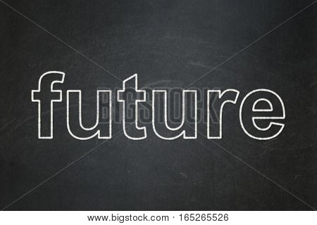 Time concept: text Future on Black chalkboard background