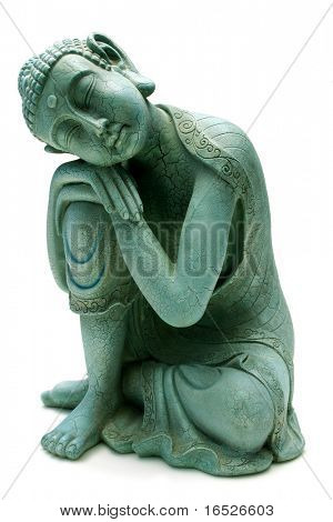 Buddha relaxing isolated on white - plaster cast statuette
