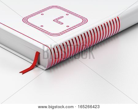 Time concept: closed book with Red Watch icon on floor, white background, 3D rendering