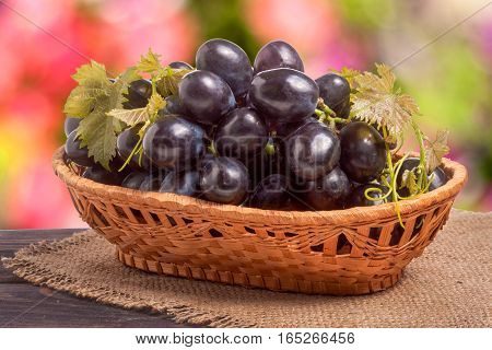 Blue grapes in a wicker basket on wooden table with a blurred background.