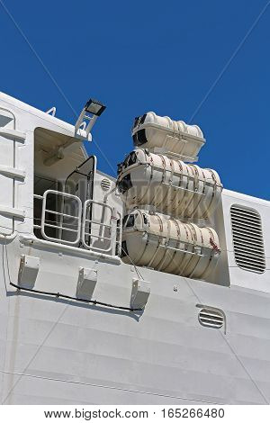 Inflatable Liferafts in Hard Shelled Canister at Big Ship