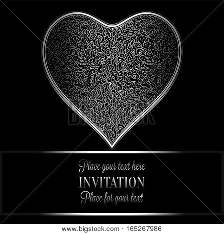 Romantic Background With Antique, Luxury Black And Silver Vintage Frame, Victorian Banner, Heart Mad
