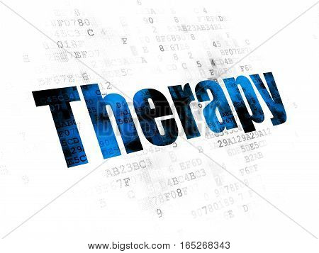 Health concept: Pixelated blue text Therapy on Digital background