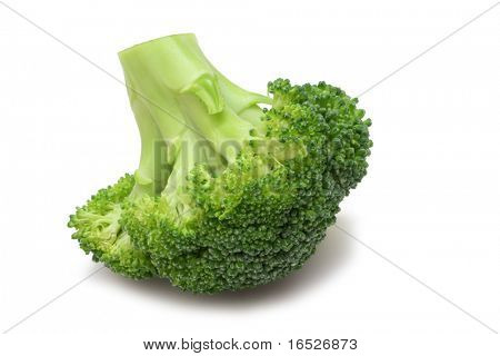 Single Broccoli floret isolated on white with clipping path