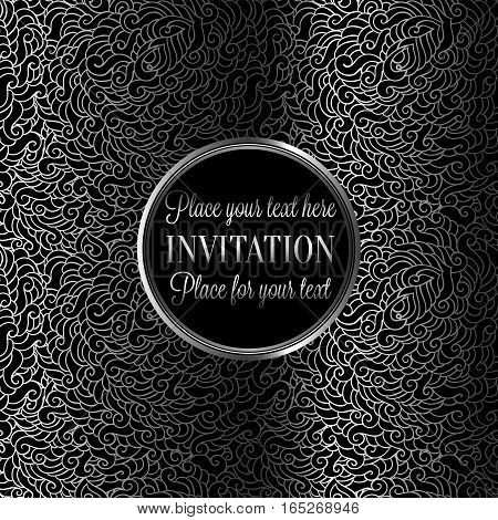 Romantic Background With Antique, Luxury Black And Silver Metal Vintage Frame, Victorian Banner, Mad