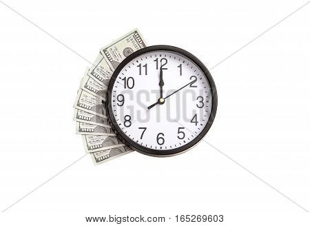 Money under the clock isolated on white. Time is money concept.