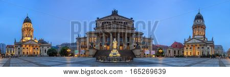Panoramic view of Gendarmenmarkt square with Berlin Concert Hall and German Cathedral