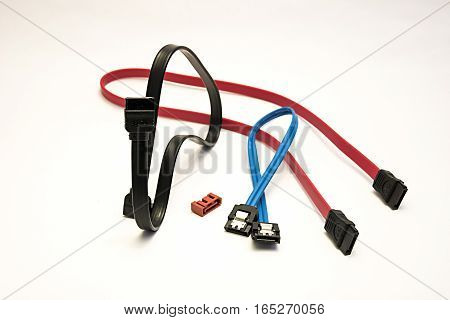 Sata Data Cable On A White Background