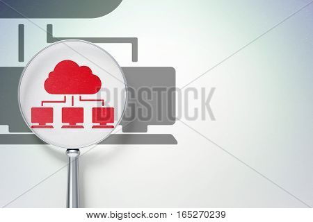Cloud computing concept: magnifying optical glass with Cloud Network icon on digital background, empty copyspace for card, text, advertising, 3D rendering