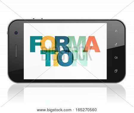 Education concept: Smartphone with Painted multicolor text Formation on display, 3D rendering