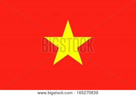 Flag of Vietnam officially the Socialist Republic of Vietnam. Vector illustration