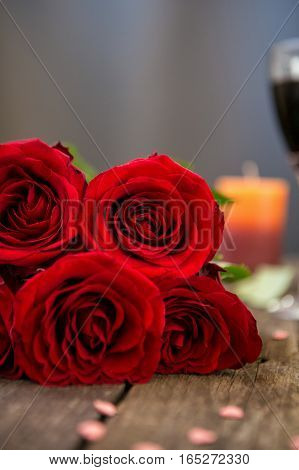 beautiful red roses for  mothers day close-up background