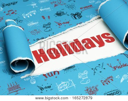 Holiday concept: red text Holidays under the curled piece of Blue torn paper with  Hand Drawn Holiday Icons, 3D rendering