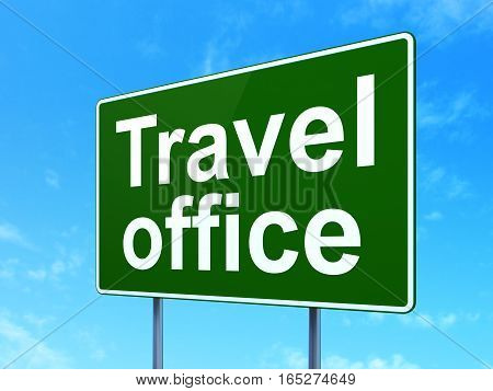 Travel concept: Travel Office on green road highway sign, clear blue sky background, 3D rendering