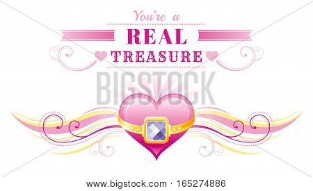 Happy Valentines day border, golden ring treasure heart. Romance love text lettering, isolated frame white background. Cute romantic Valentine banner vector illustration. Abstract design. Flat cartoon