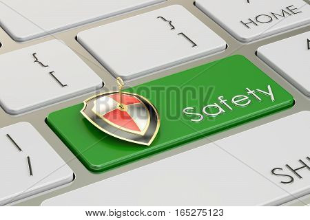 Safety concept on green keyboard button 3D rendering