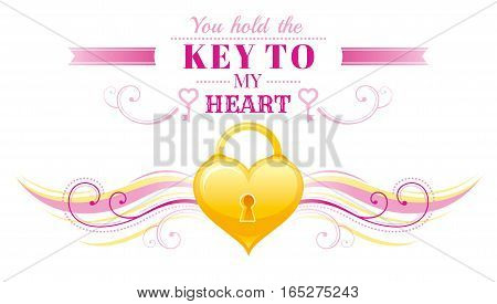 Happy Valentines day border, locked golden heart, key. Romance, love text lettering, isolated frame white background. Cute romantic Valentine banner vector illustration. Abstract flat cartoon sign