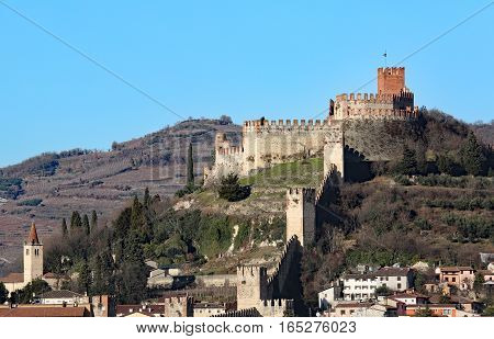 Fantastic View Of The Castle Of Soave In Italy