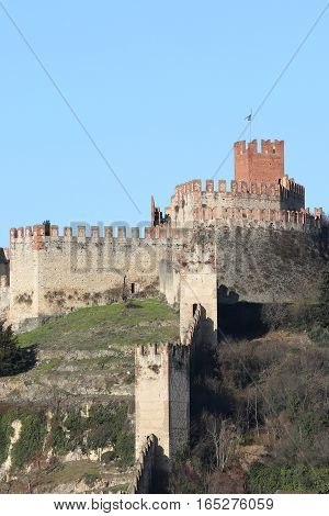 Soave Verona Italy Ancient Castle With Old Walls