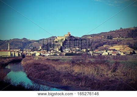 Old Castle Of Soave With The Medieval Walls Perched On The Hill