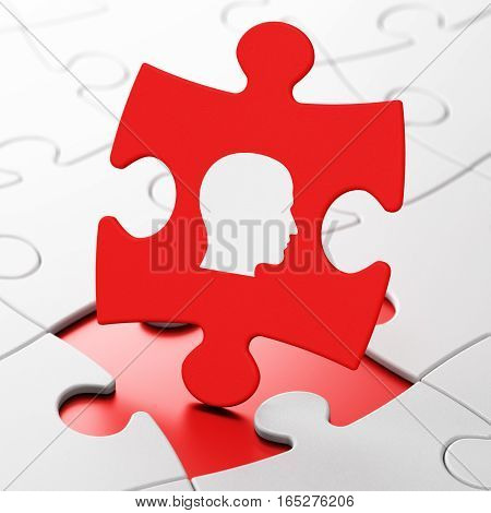 Data concept: Head on Red puzzle pieces background, 3D rendering