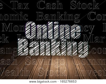 Currency concept: Glowing text Online Banking in grunge dark room with Wooden Floor, black background with  Tag Cloud