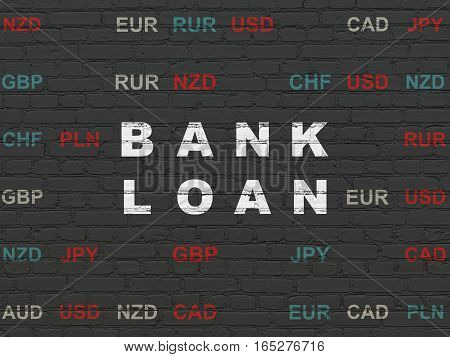 Currency concept: Painted white text Bank Loan on Black Brick wall background with Currency