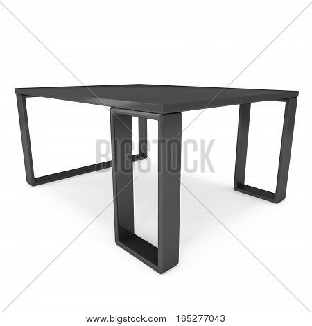 Black Table. 3D render isolated on white. Platform or Stand Illustration. Template for Object Presentation.