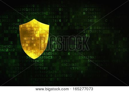 Protection concept: pixelated Shield icon on digital background, empty copyspace for card, text, advertising