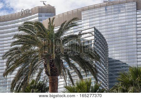 LAS VEGAS, NEVADA - DECEMBER 23, 2016: Aria Resort and Casino - view from Las Vegas Blvd