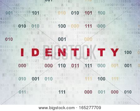 Safety concept: Painted red text Identity on Digital Data Paper background with Binary Code