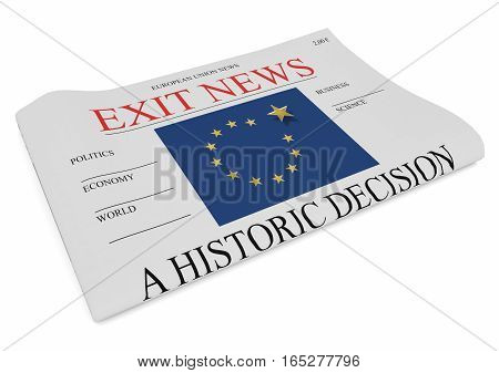 EU Politics News Concept: Newspaper Front Page Exit 3d illustration on white background