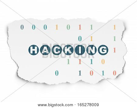 Safety concept: Painted blue text Hacking on Torn Paper background with  Binary Code