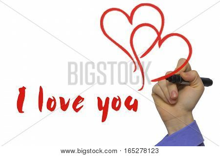 red marker with text I love you and two hearts